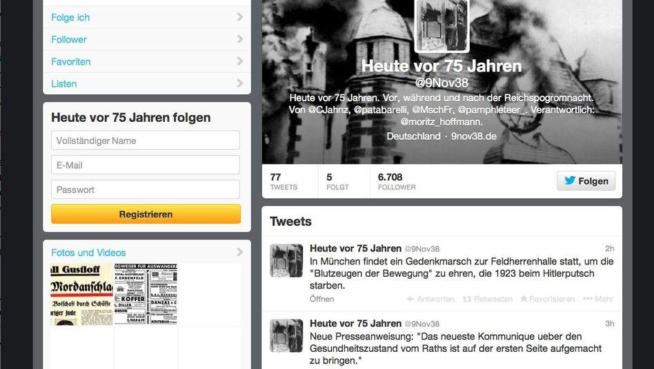 Screenshot des Twitter-Account @9Nov38: Digitale Stolpersteine
