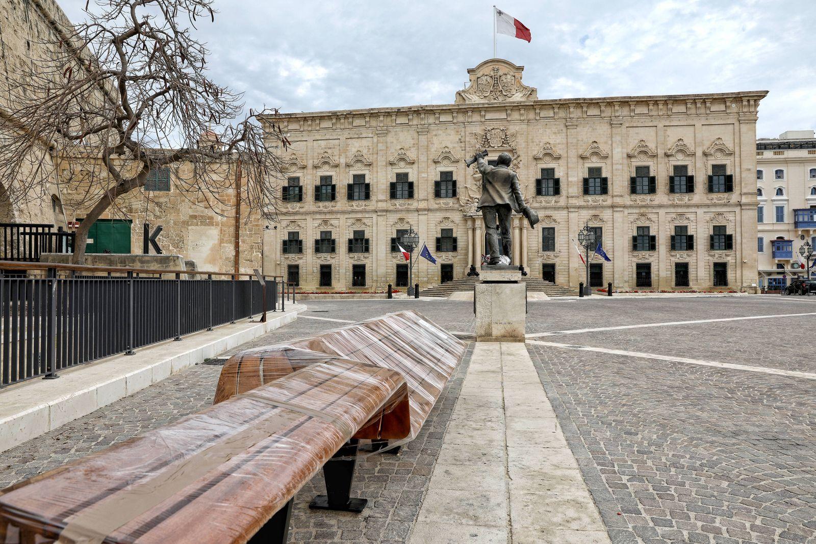 The Auberge de Castille in Castille Place, Valletta, Malta, houses the Office of the Prime Minister of Malta looks eeril