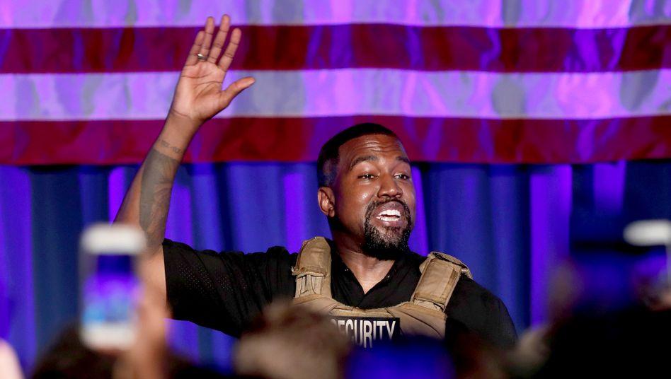 Kanye West bei seiner Wahlkampf-Kundgebung in South Carolina (am 19. Juli): Am Ende Tränen