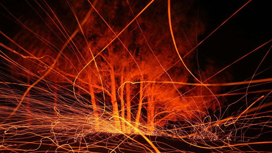Das Kincade-Feuer wütet im Weinbaugebiet Sonoma County nördlich von San Francisco