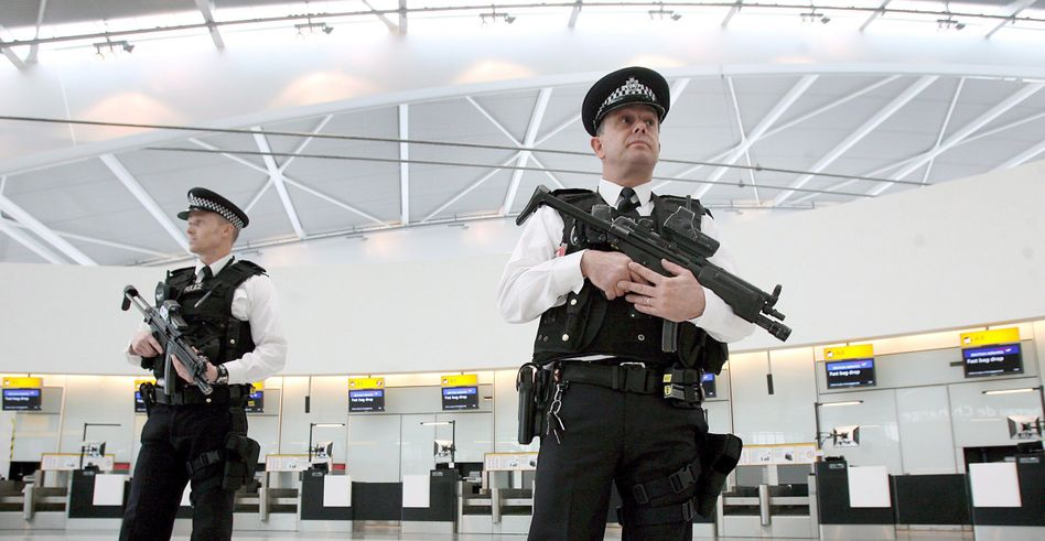 Police at Heathrow Airport in a 2008 archive photo: A terrorist plot in London