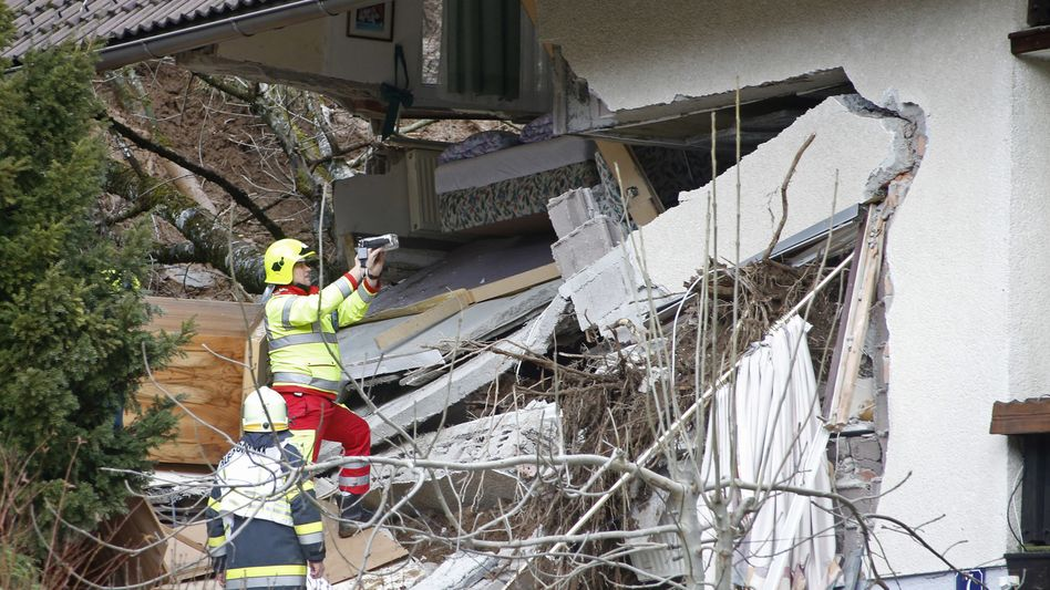 Zerstörtes Haus: Ein Erdrutsch traf das Gebäude in Bad Kleinkirchheim
