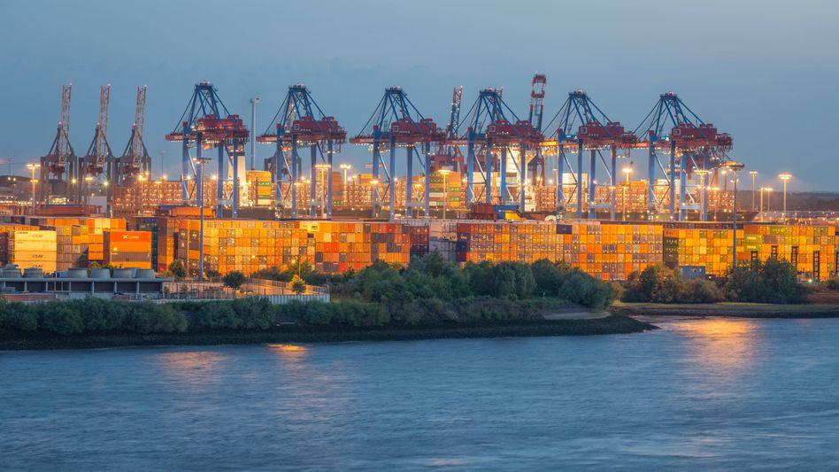Containerterminal mit Frachtkränen an der Elbe