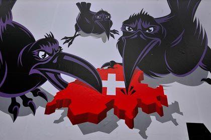 Furchteinflößende Raben: Das aktuelle Wahlplakat der Schweizerischen Volkspartei SVP