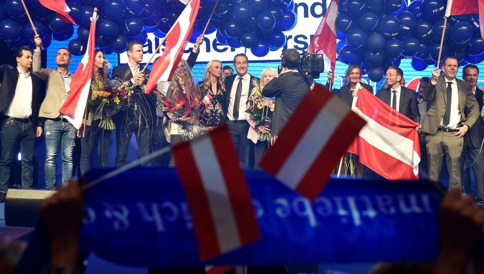 FPÖ-Chef Heinz-Christian Strache bei der Wahlfeier in Wien