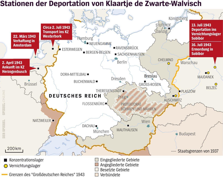 Grafik Karte - Stationen Deportation Klaartje de Zwarte-Walvisch