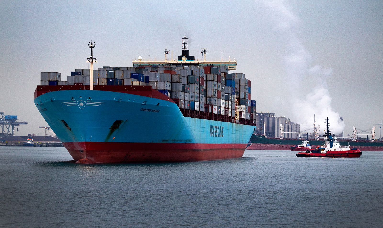 The Carsten Maersk, the first container ship to sail from Japan to Rotterdam since the nuclear disaster at Fukushima enters Europe's largest port, Rotterdam