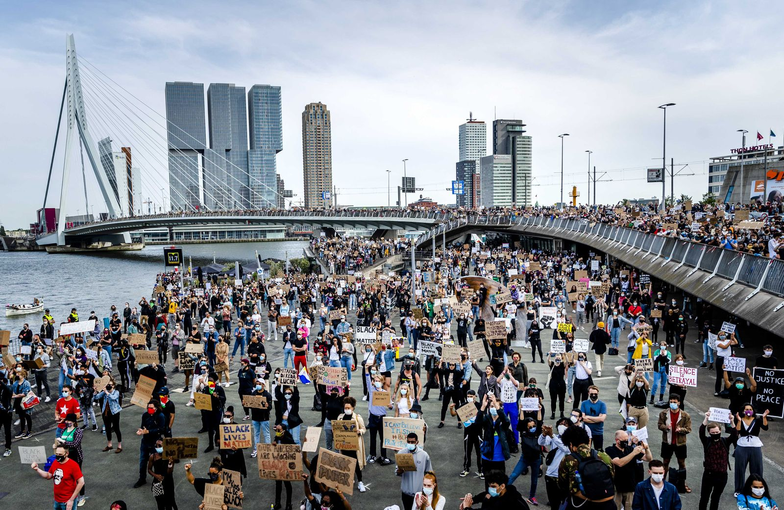 Rotterdam - Protest against Police brutality in USA, Netherlands - 03 Jun 2020