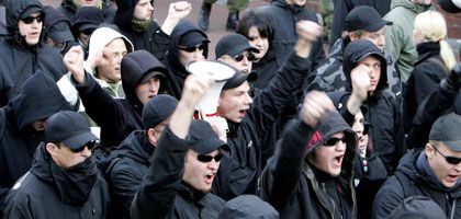 Neo-Nazis on the march in Germany.