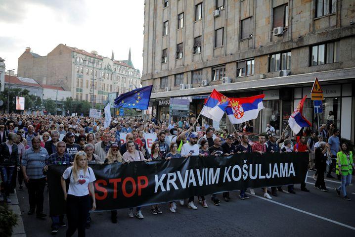 Proteste gegen Präsident Vucic in Belgrad (im Mai): Der öffentliche Druck wächst