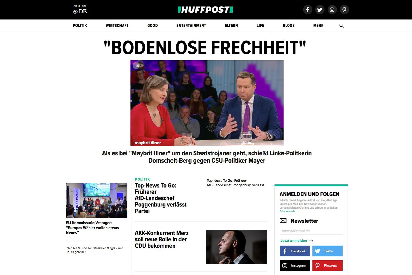 EINMALIGE VERWENDUNG HuffPost Deutschland SCREENSHOT