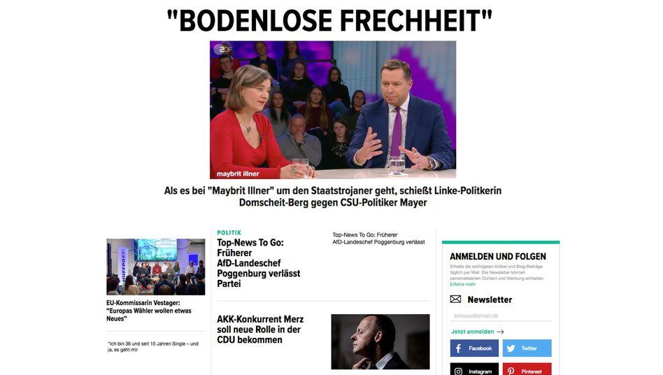 """Homepage der """"Huff Post Deutschland"""""""