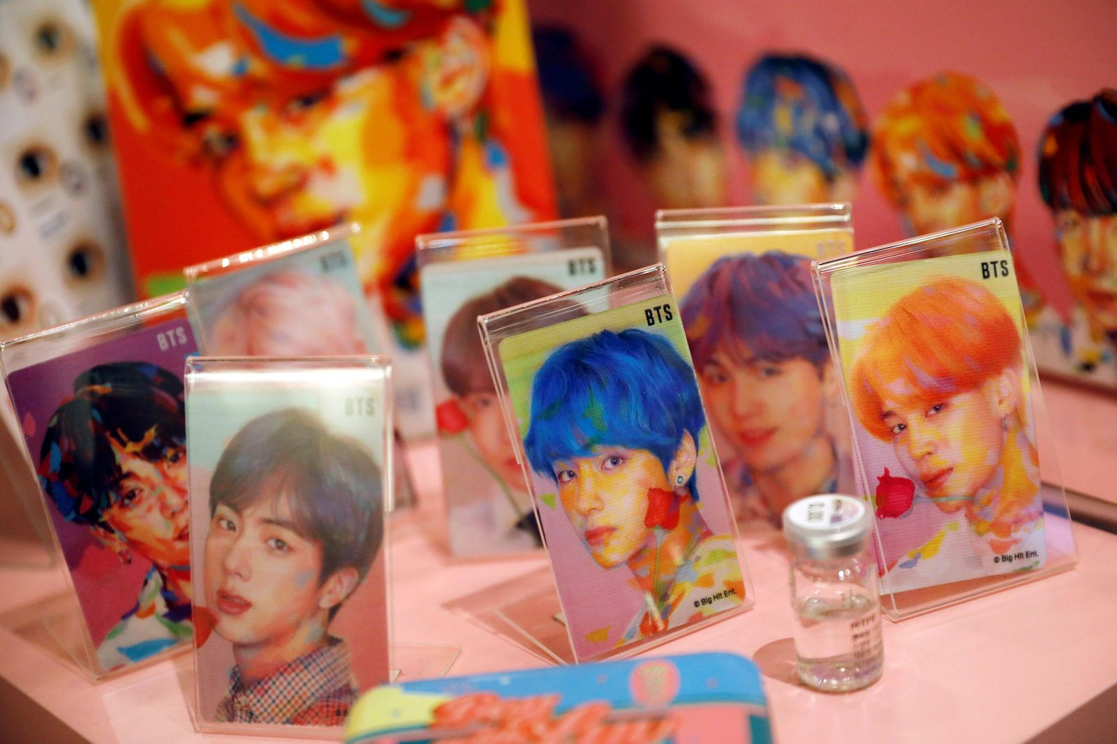 Goods of K-pop idol boy band BTS are seen on display at a pop-up store selling BTS merchandise in Seoul