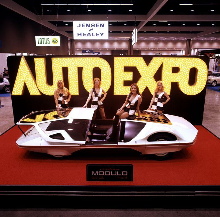 Präsentation des Ferrari Modulo auf der Las Vegas Auto-Expo in den Siebzigerjahren