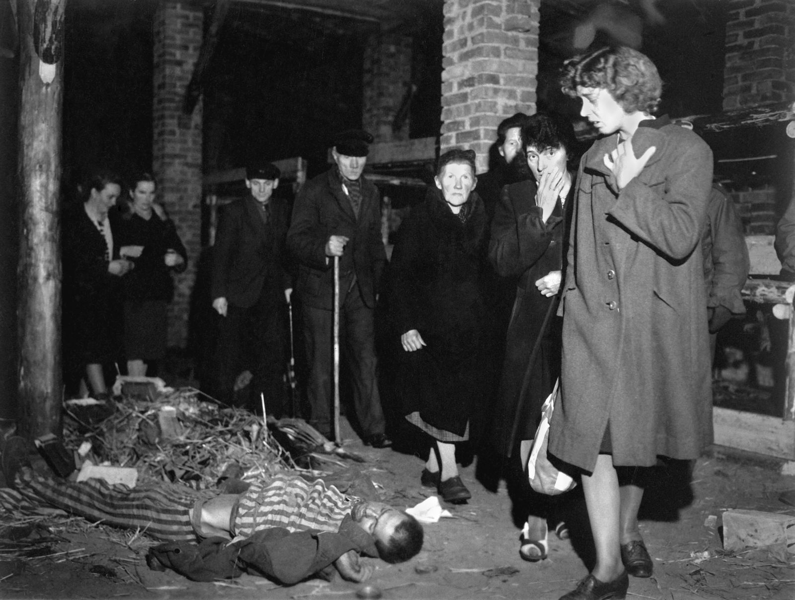 Citizens of Ludwigslust were forced by U.S. Army to view the dead in Wobbelin concentration camp. Ma