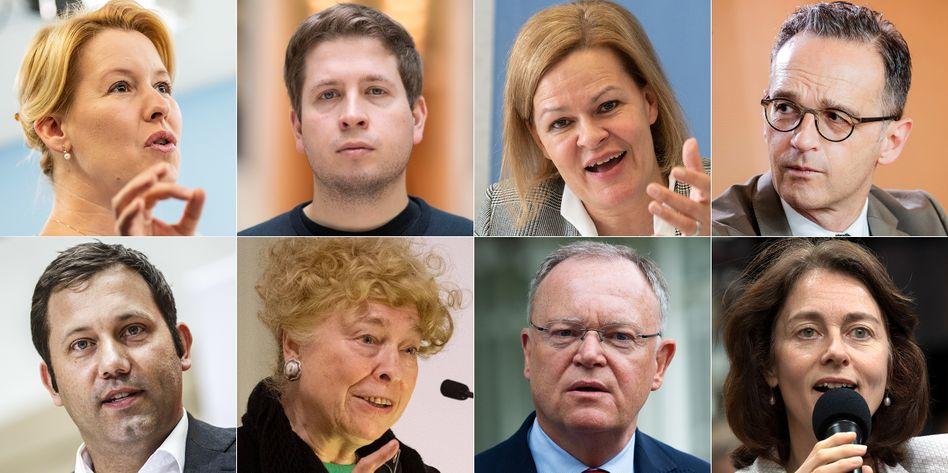 Oben v.l.: Franziska Giffey, Kevin Kühnert, Nancy Faeser, Heiko Maas; unten v.l.: Lars Klingbeil, Gesine Schwan, Stephan Weil, Katarina Barley