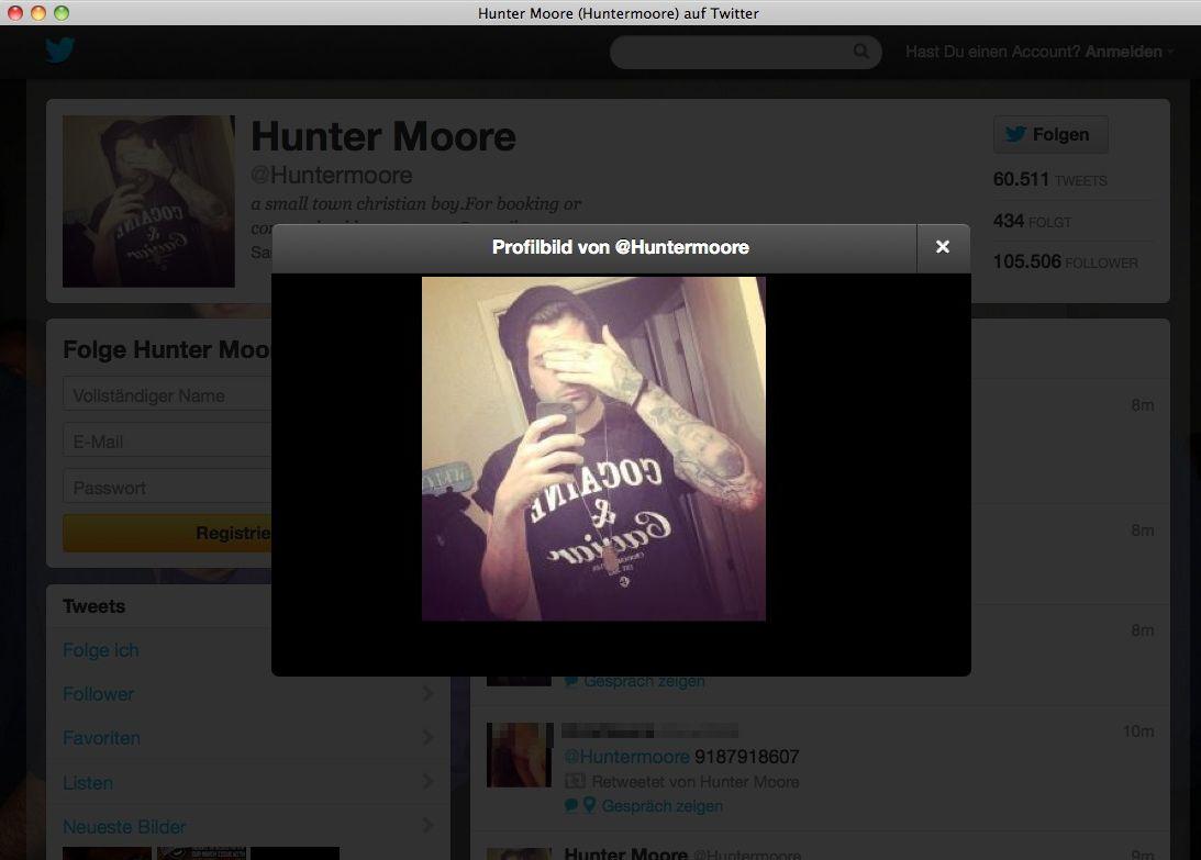 EINMALIGE VERWENDUNG Hunter Moore / Twitter