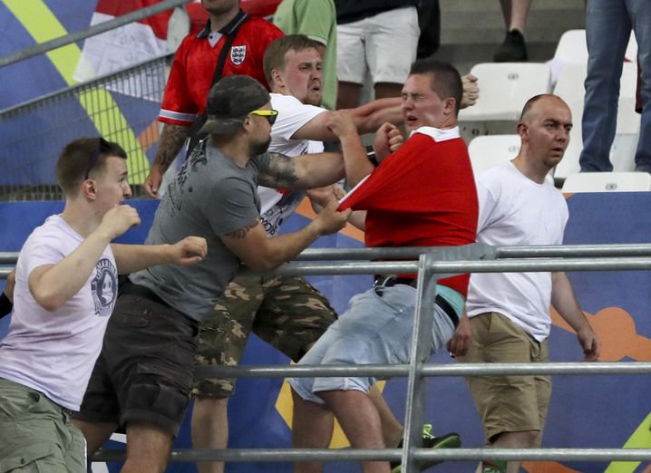 Russische Hooligans bei der EM