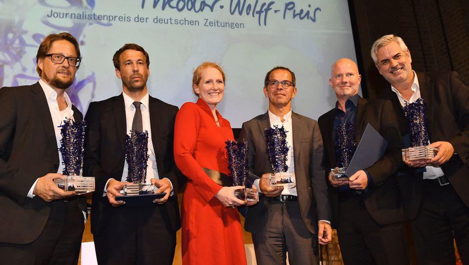 Heinrich Wefing (v.l.), Tobias Haberl, Nicole Bastian, Jens Münchrath, Karsten Krogmann und Marco Seng