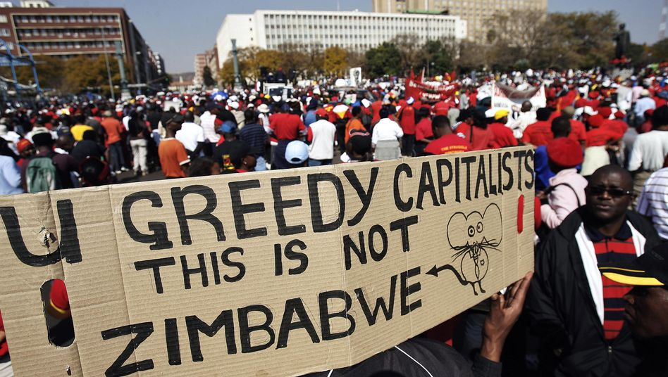 Trade union members protest in a 2008 national strike against the South Africa's rising cost of living.
