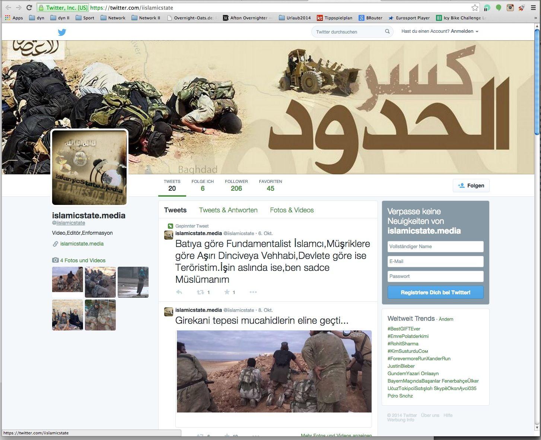EINMALIGE VERWENDUNG NUR ALS ZITAT Twitter Islamic State