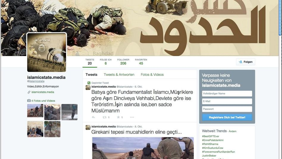 A screenshot of Islamic State's Twitter account: