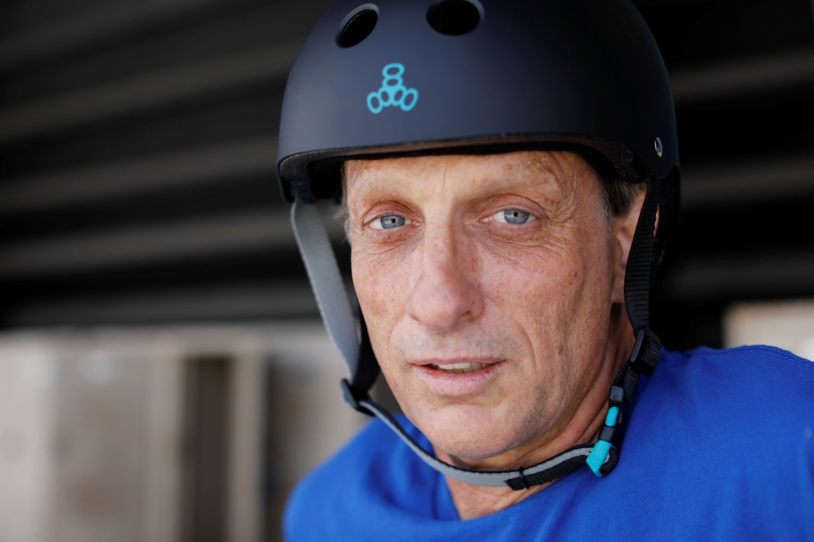 Two days before his 50th birthday professional skateboarder Tony Hawk poses for a portrait at the YMCA Skatepark in Encinitas, California