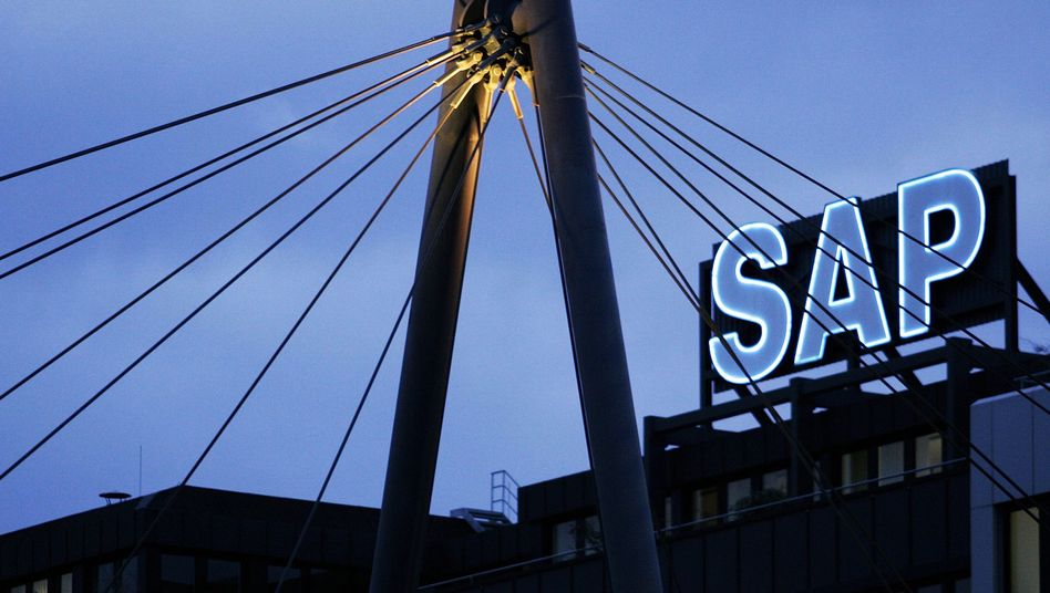 """Firmenlogo der SAP-Zentrale: """"Geschäftsnetzwerk der Zukunft"""""""