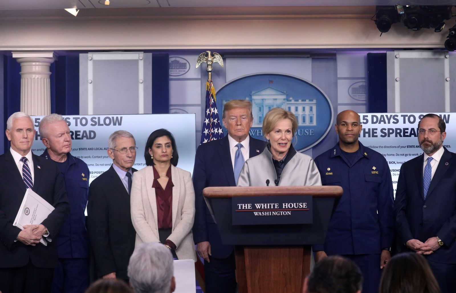 U.S. President Trump gives a press briefing on the coronavirus disease (COVID-19) outbreak in Washington