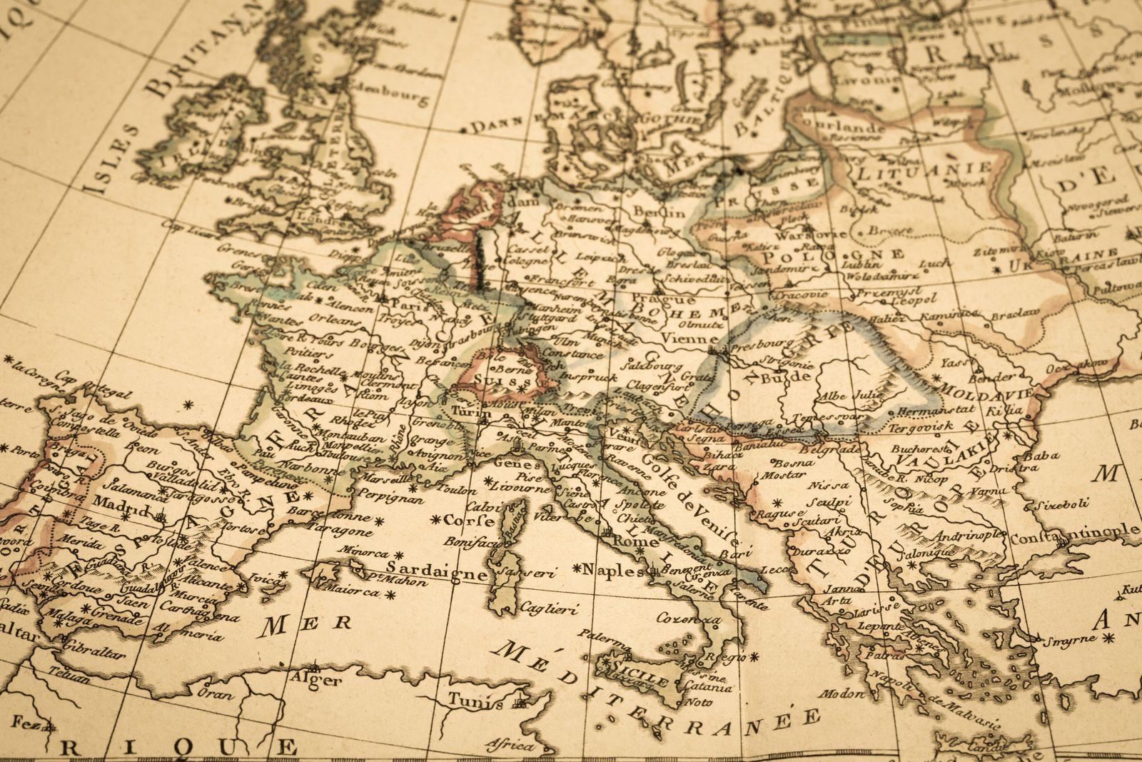 EINMALIGE VERWENDUNG alte Landkarte