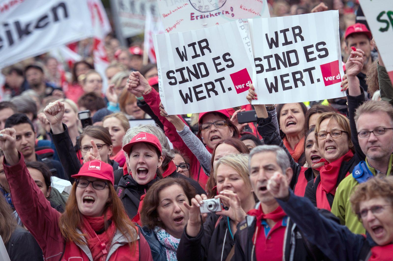 Kita-Demonstration in Düsseldorf