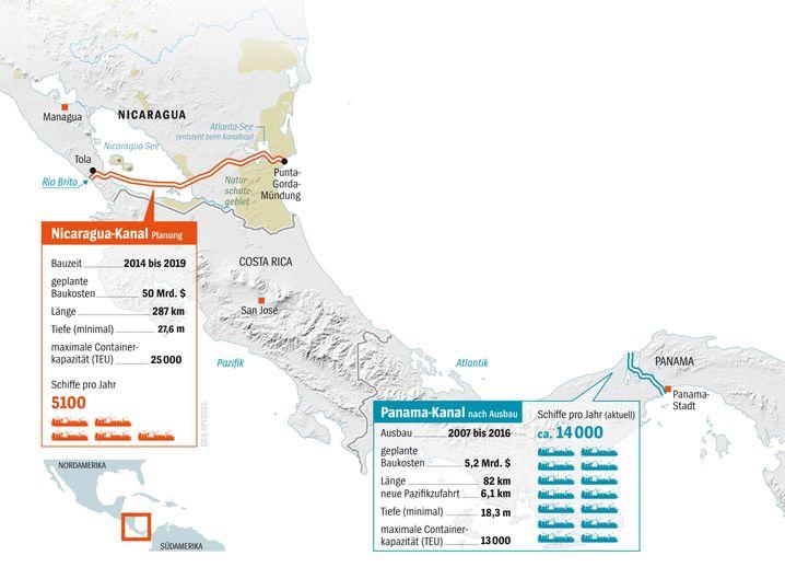 Geplanter Verlauf des Nicaragua-Kanals