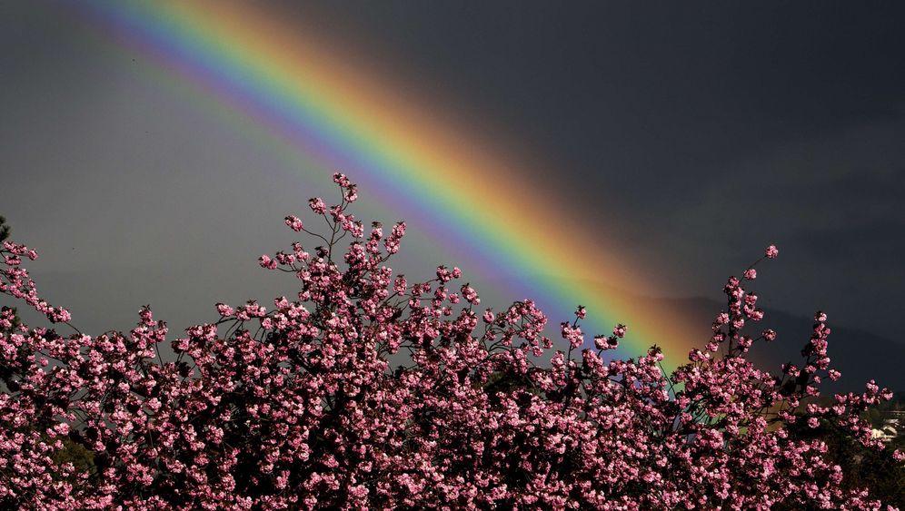 April in Europa: Lichtspiele im Regen, Zeichen am Himmel