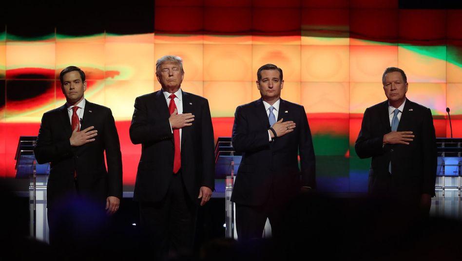 Republikanische Kandidaten Marco Rubio, Donald Trump und Ted Cruz (v.l.n.r.)