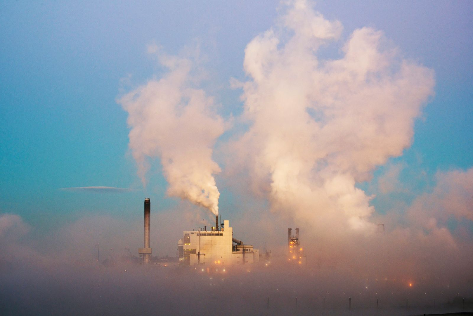 Paper Mill in fog, Tacoma, Washington