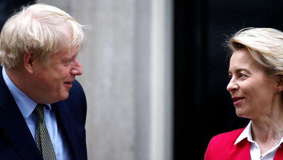 Britischer Premier Johnson, Kommissionschefin von der Leyen: Streitpunkte seit Monaten gleich