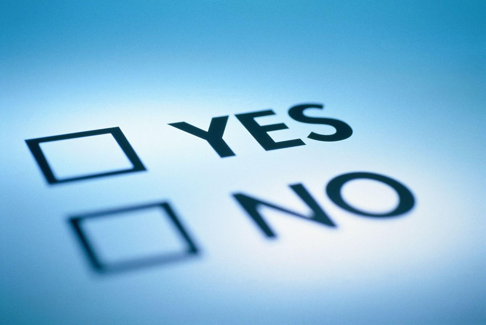 NICHT MEHR VERWENDEN! - Entscheidung / Ja oder Nein / Anwort ankreuzen