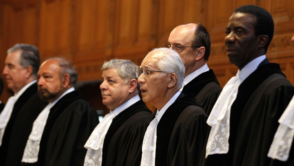 Judges at the International Court of Justice in The Hague, Netherlands, on Sept. 12.
