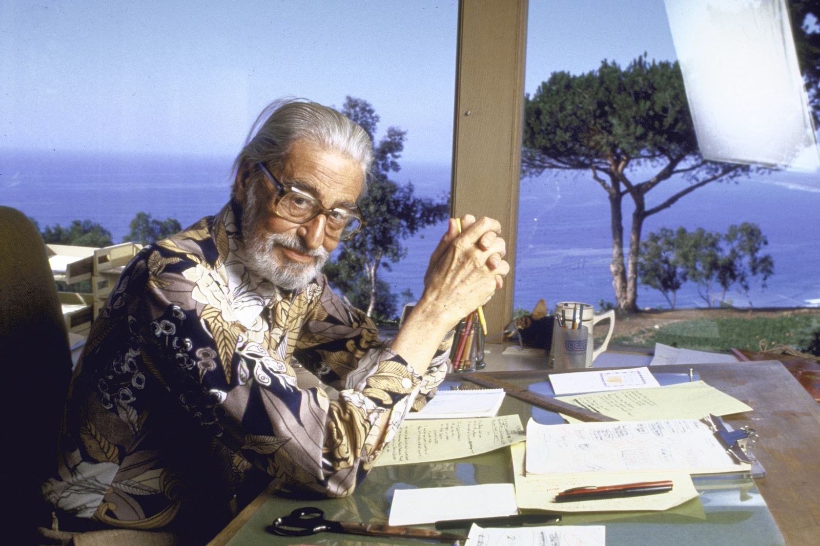 """Author Theodore Geisel (""""Dr Seuss"""") at home"""