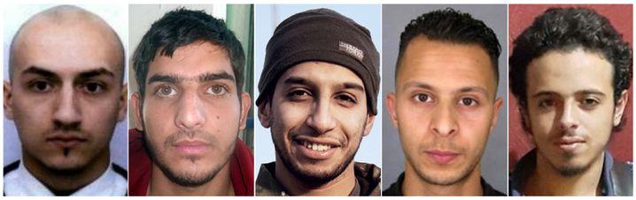 Mutmaßliche Attentäter (von links nach rechts): Samy Amimour, Ahmad Almohammad, Abdelhamid Abaaoud, Salah Abdeslam (noch flüchtig), Bilal Hafdi
