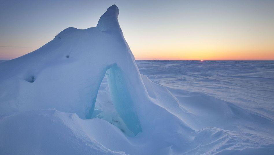 Sonnenuntergang über Alaska: Schneeflächen reflektieren Sonnenstrahlen