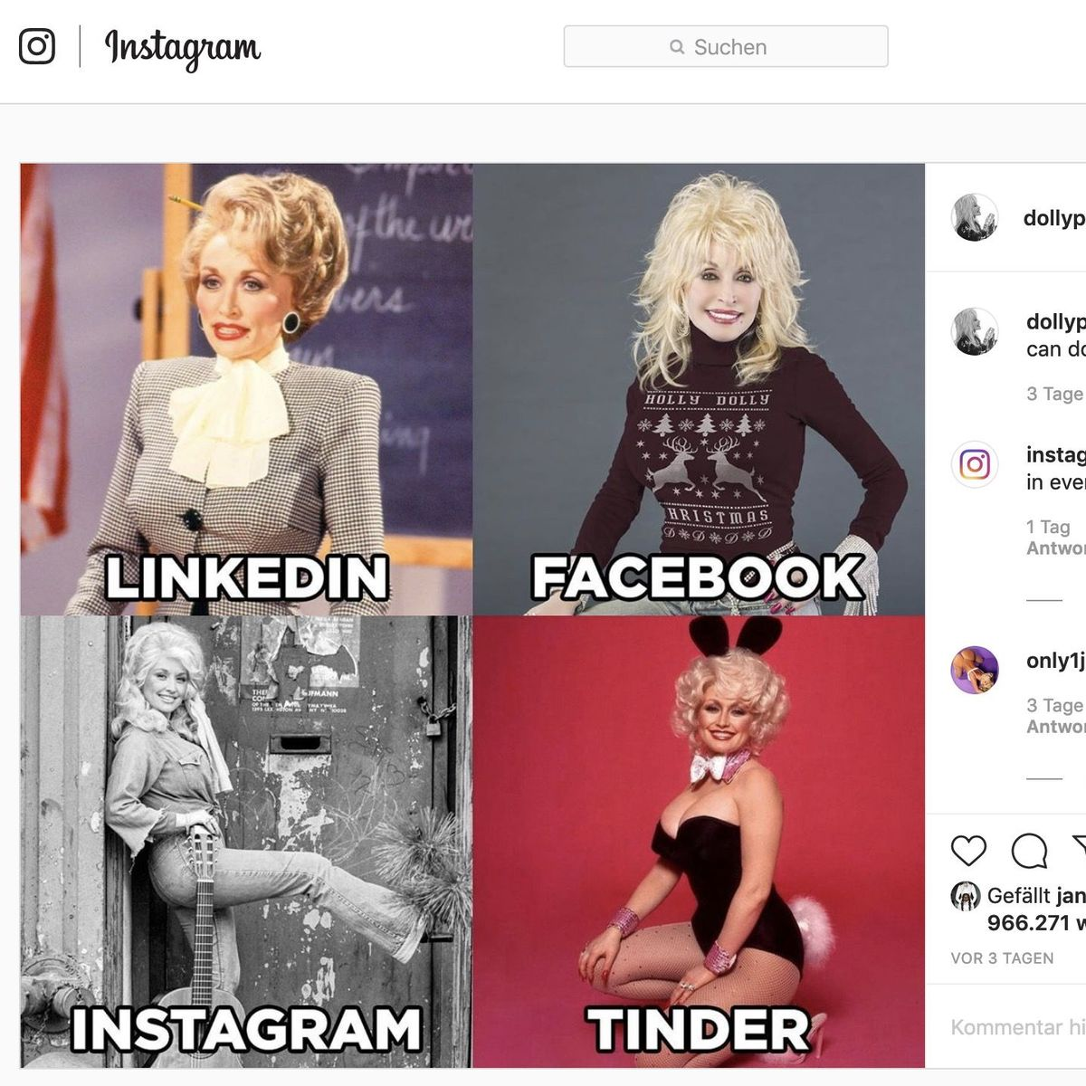 Netztrend #DollyPartonChallenge: Das passende Ich für jede Plattform