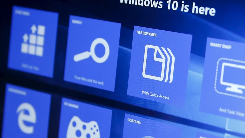 Windows 10 auf einem Bildschirm