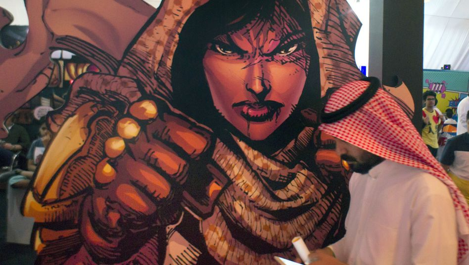 A banner showing Latifa during the Saudi Comic-con