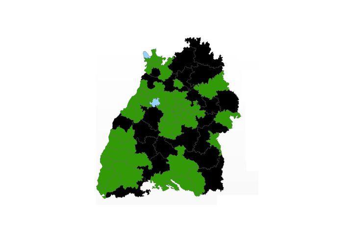 Wahlkreise in Baden-Württemberg - mit den AfD-Direktmandaten in blau