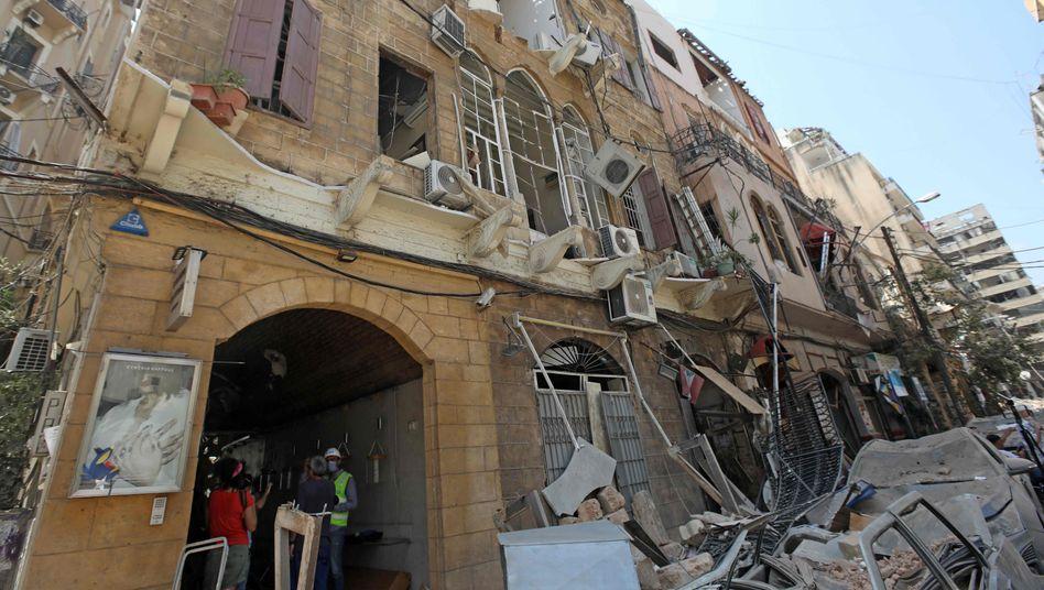 Straße in Beirut: Häuser von bis zu 300.000 Menschen beschädigt