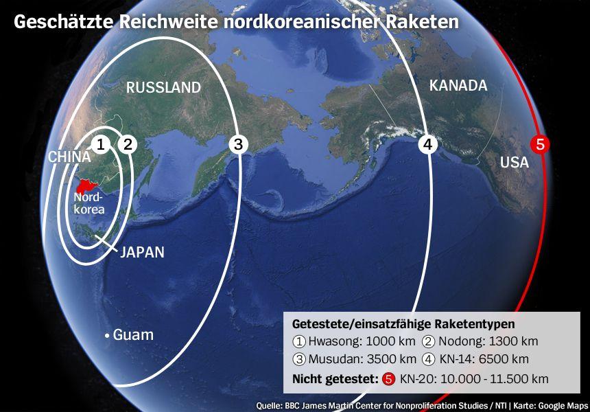 Grafik - Nordkorea - Raketen - Geschätzte Reichweiten
