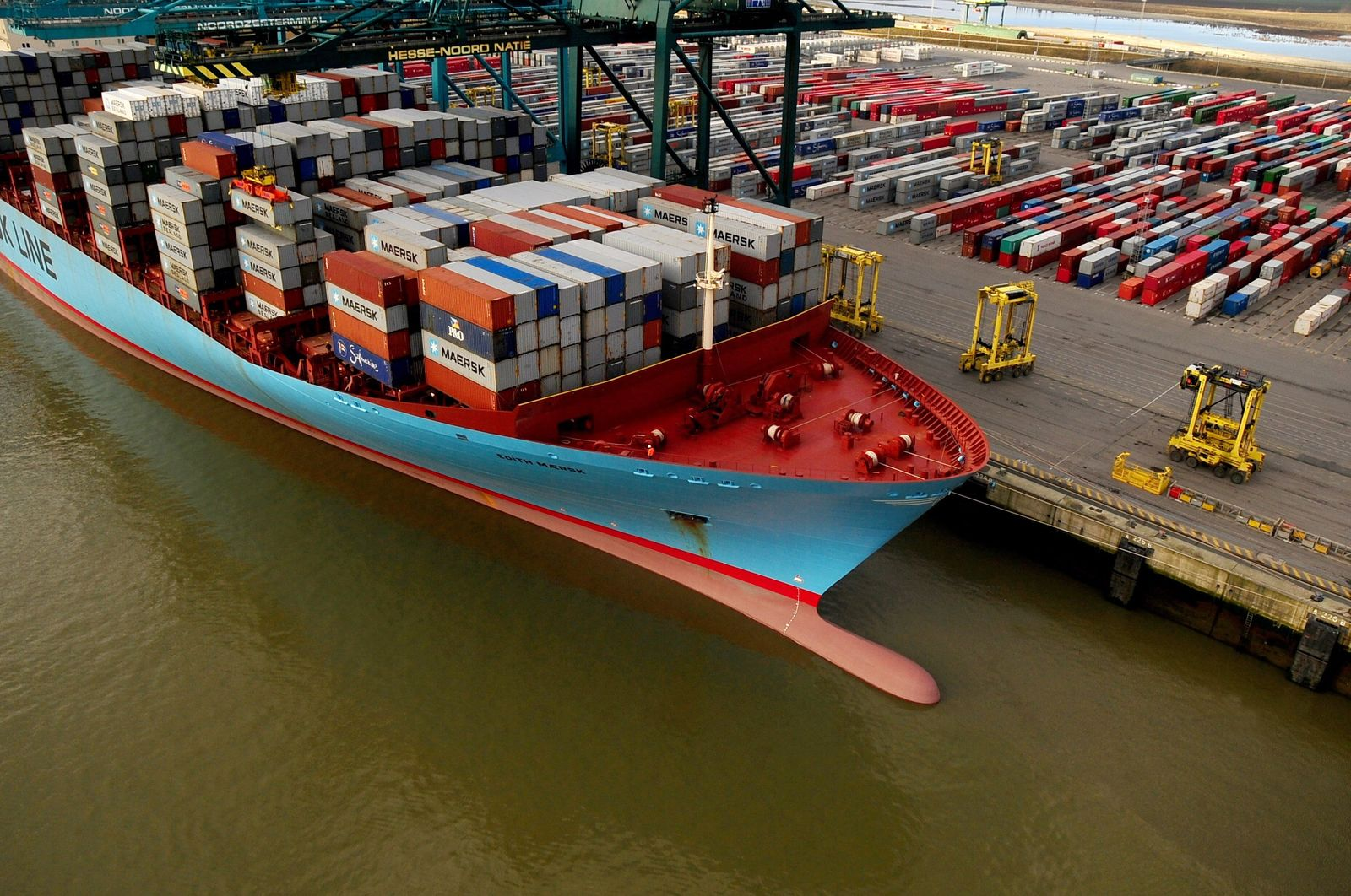 Edith Maersk of the Maersk Line at the Antwerp harbour, in Belgiu