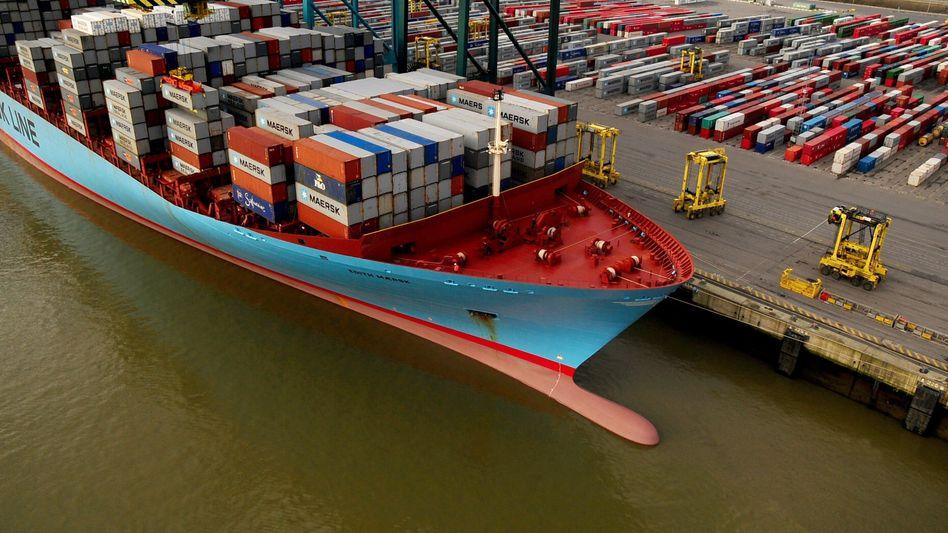 Maersk-Containerschiff im Hafen von Antwerpen