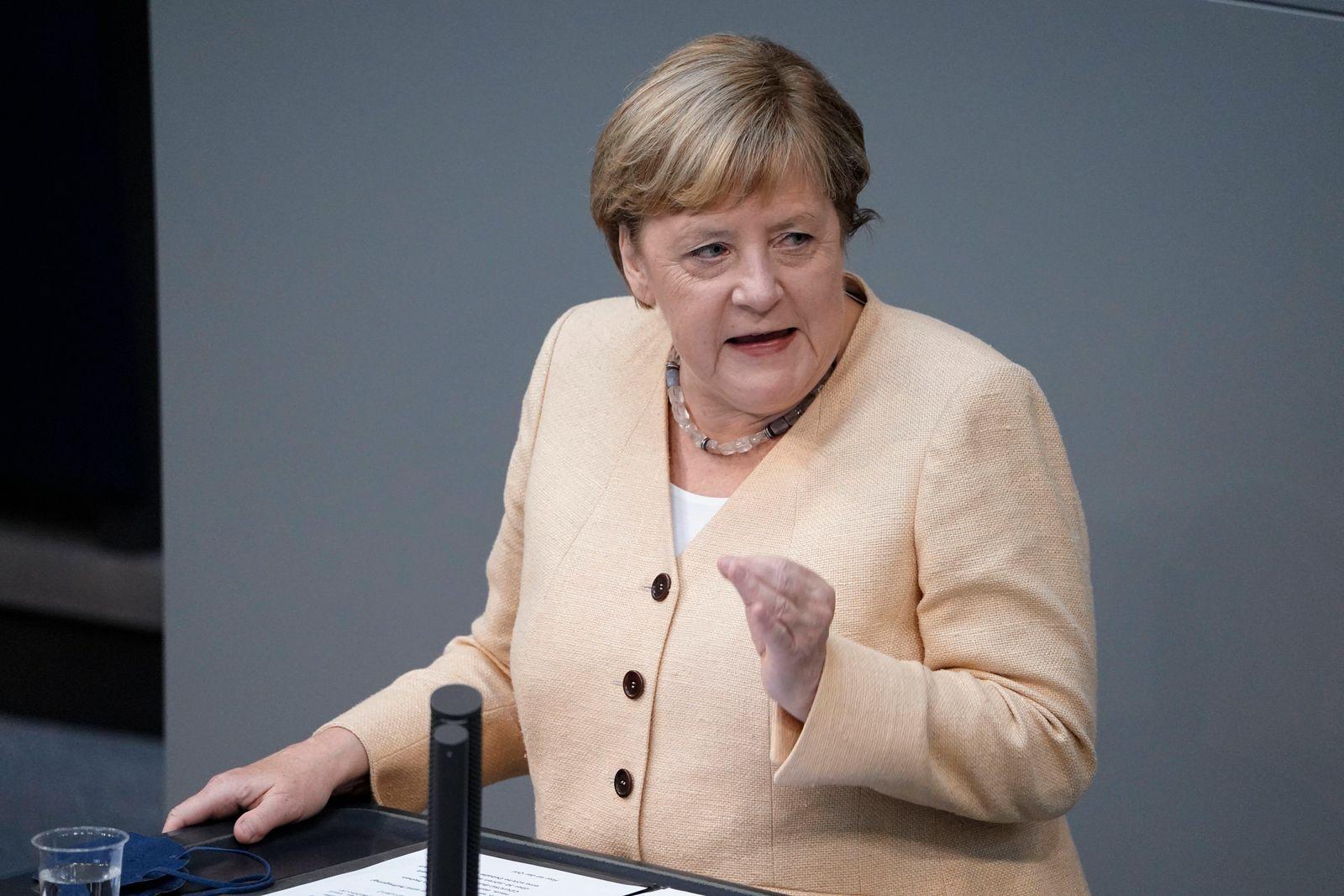 239. Bundestagssitzung und Debatte Aktuell, 07.09.2021, Berlin, Angela Merkel die Bundeskanzlerin der Bundesrepublik Deu